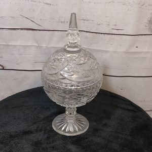 Lead Crystal Round Candy Dish with Lid